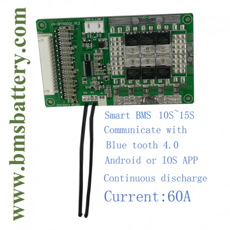 Smart BMS 10S~15S 60A with Blue tooth APP Battery Type LiFePO4 Cells in  series 10