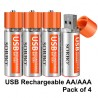 SORBO USB Rechargeable AA Lithium Batteries - Li-ion Battery Cell - 1.5V / 1200mAH (4-Pack)